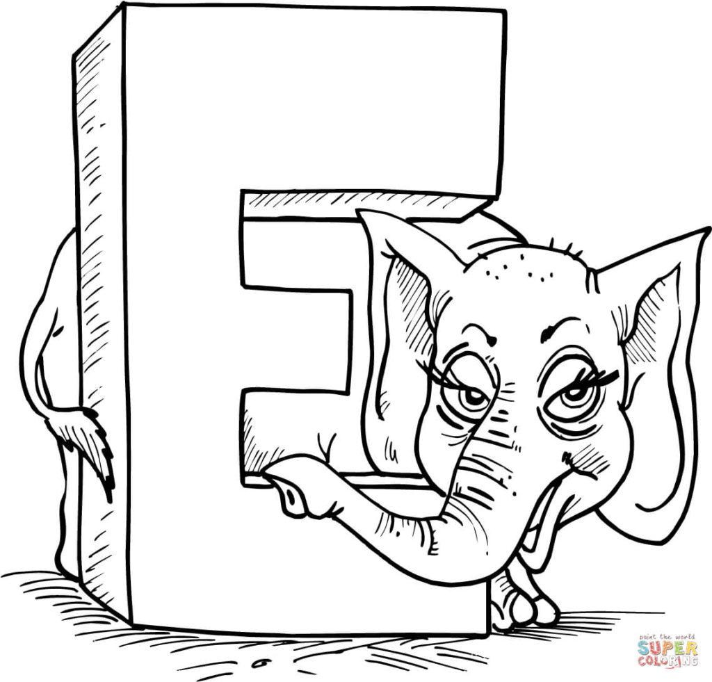 vogal e para colorir elefante