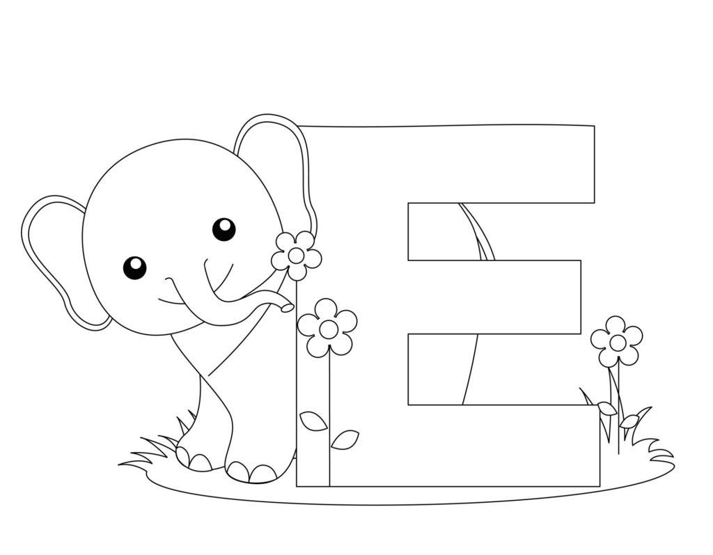 vogal e para colorir elefantinho