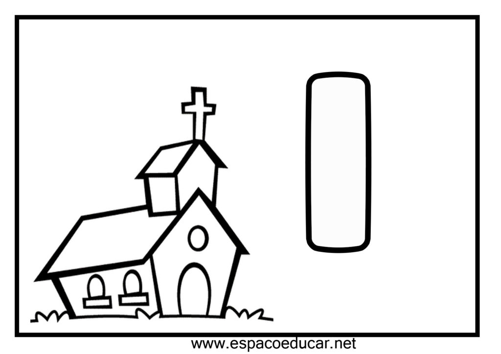 vogal i para colorir igreja
