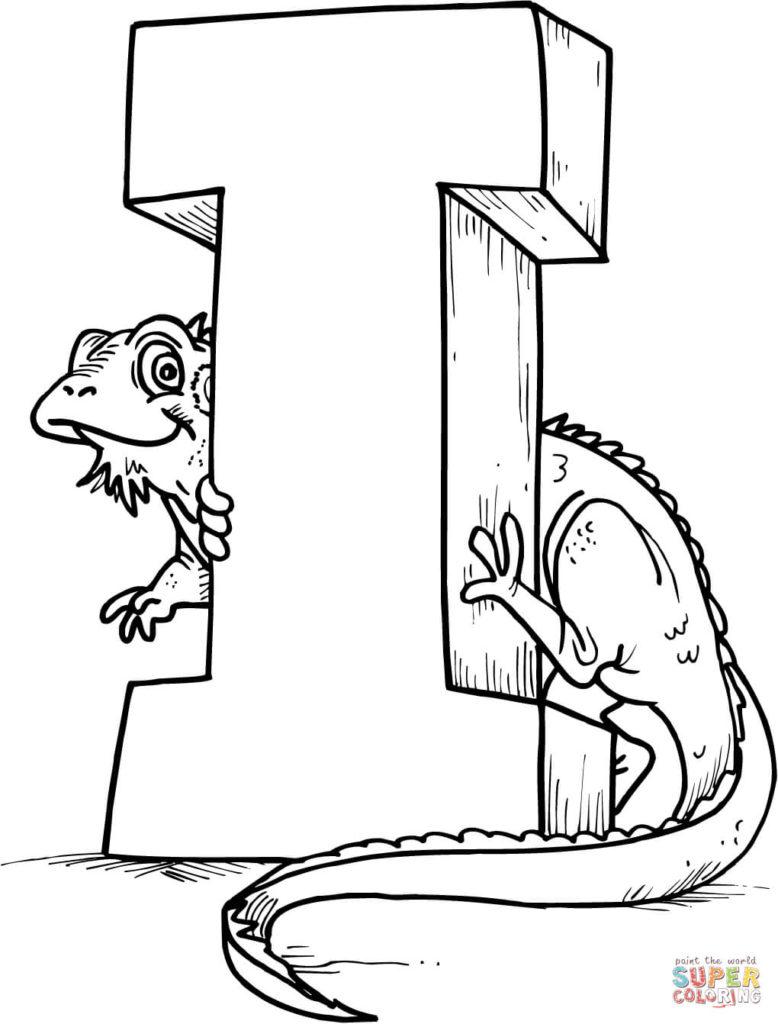 vogal i para colorir iguana