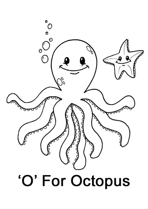 vogal o para colorir octopus