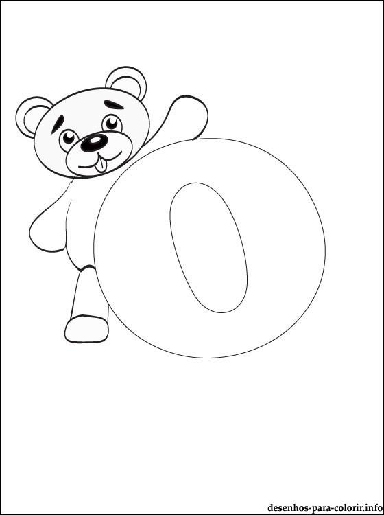 vogal o para colorir ursinho