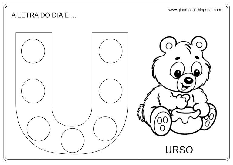 vogal u para colorir urso