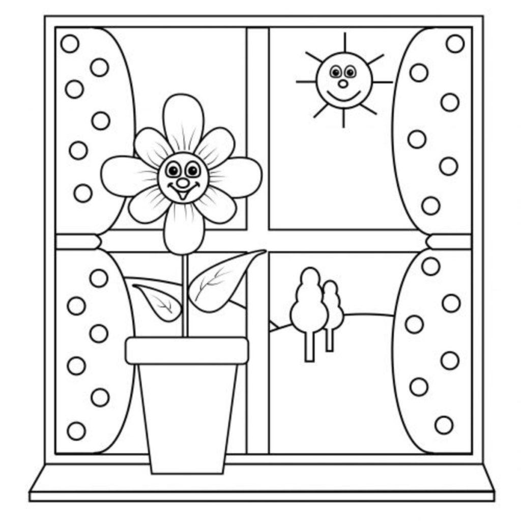 janela para colorir flor e sol