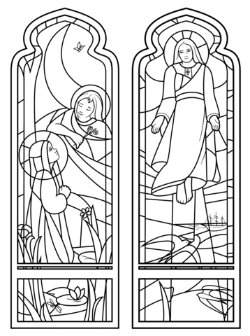 janela para colorir igreja