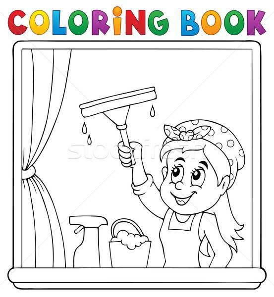janela para colorir limpando