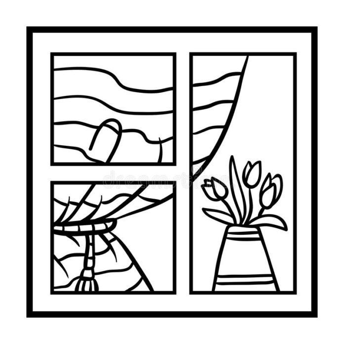 janela para colorir vaso de flores