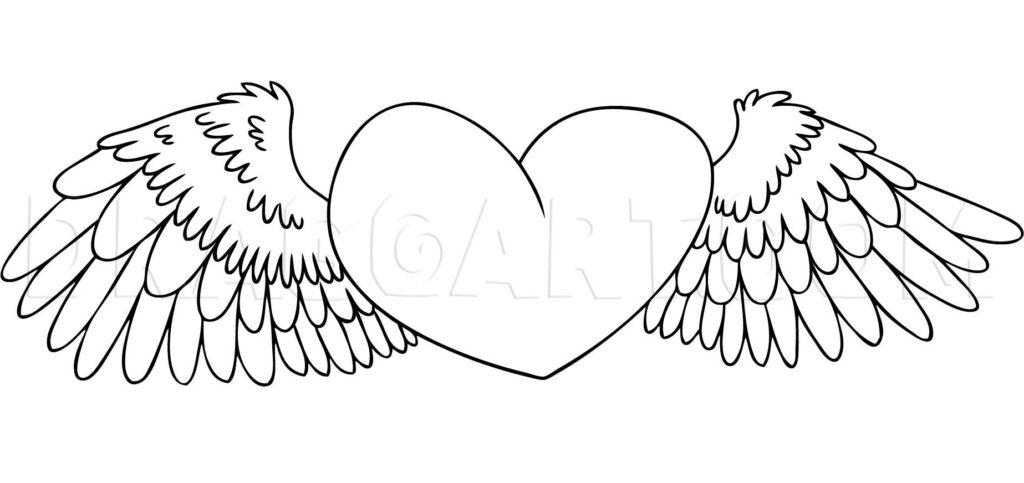 Como Desenhar Coração com Asas colorir