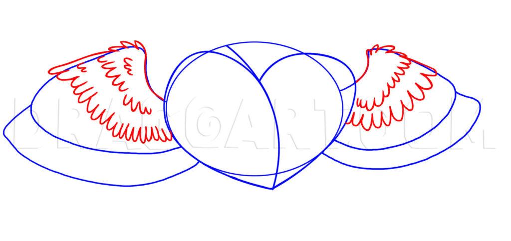 Como Desenhar Coração com Asas desenho