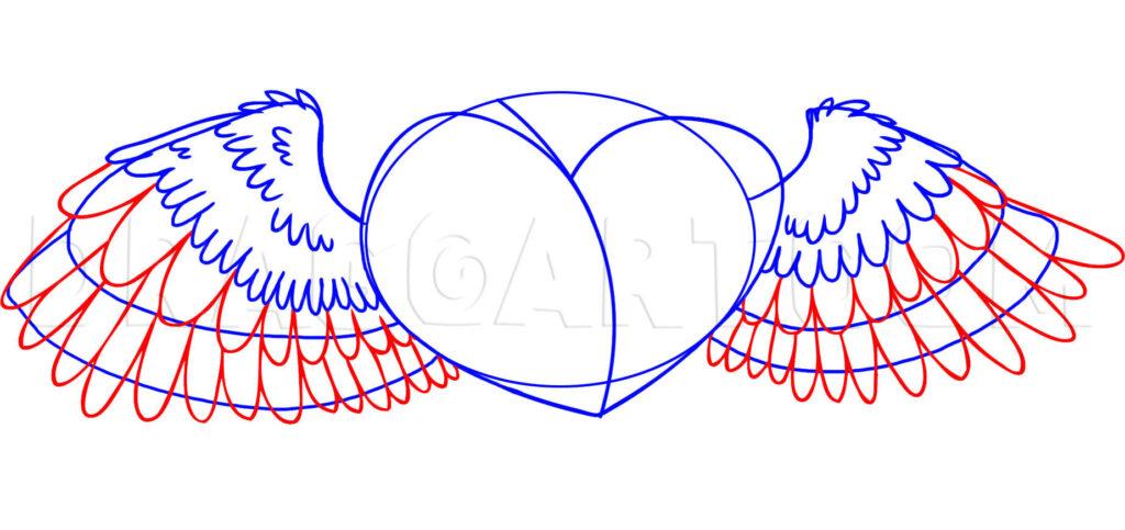Como Desenhar Coração com Asas imagens