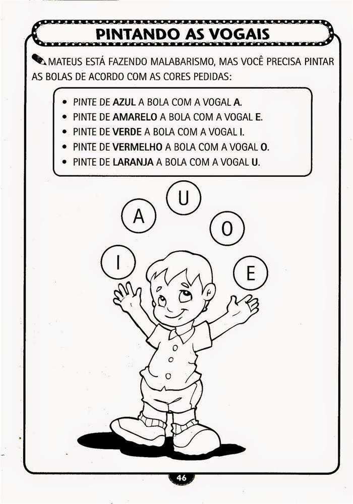 Educação Infantil Atividade vogais pintar