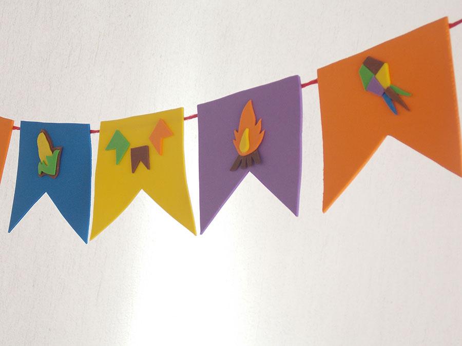 bandeirinhas para festa junina EVA