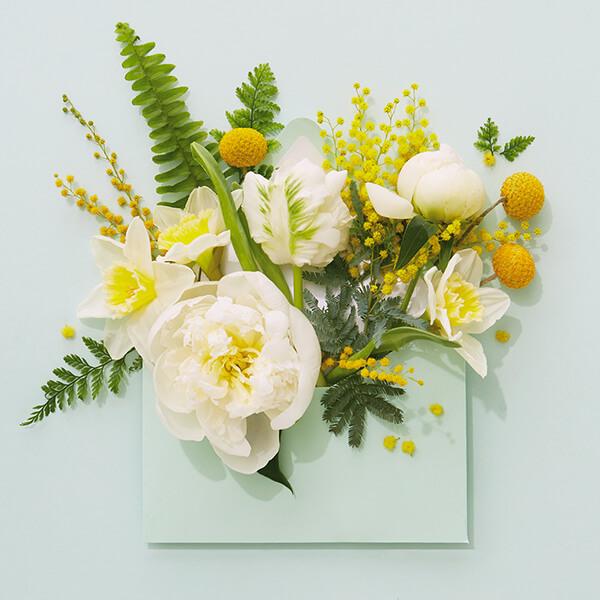 bilhete para buquê de flores