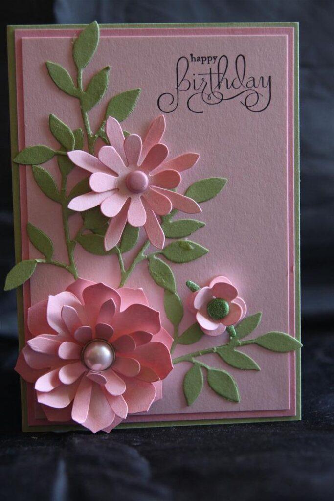 cartão aniversário com flores
