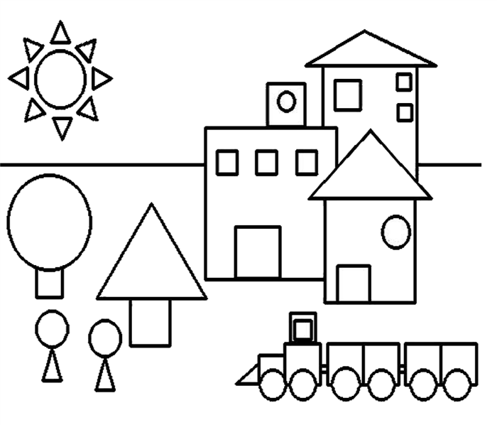 colorir casa forma geométrica