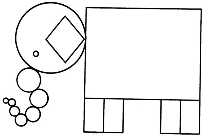colorir formas geométricas elefante
