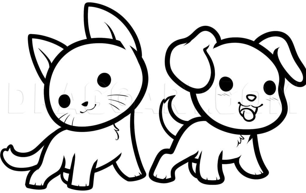 como desenhar animais kawaii colorir