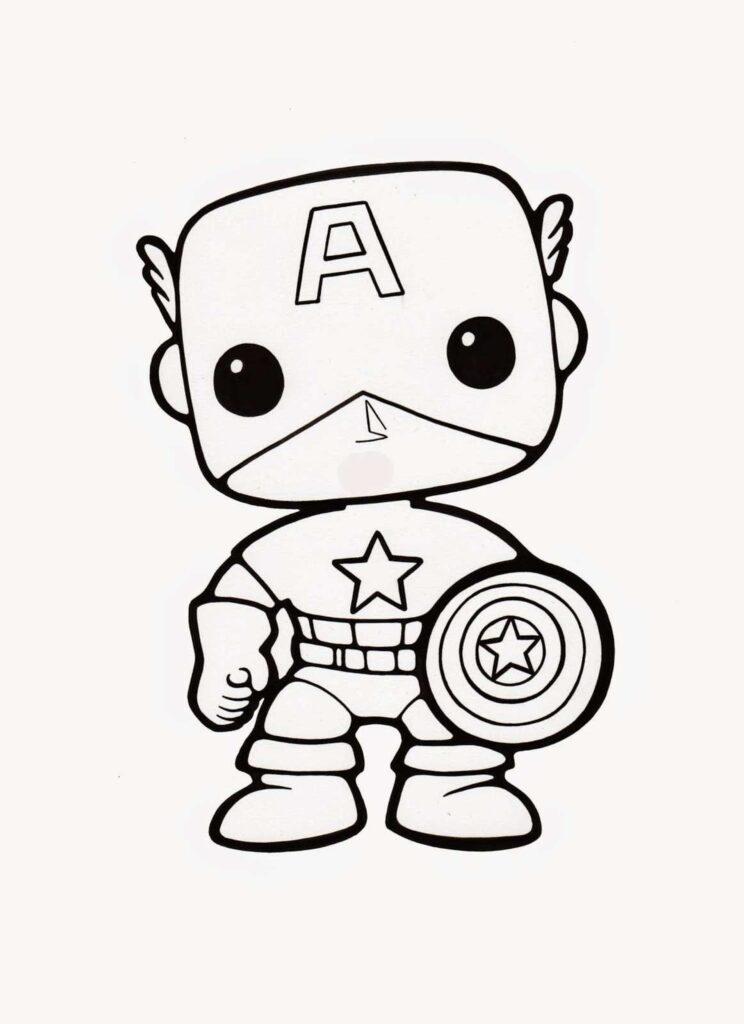 desenho kawaii capitão américa