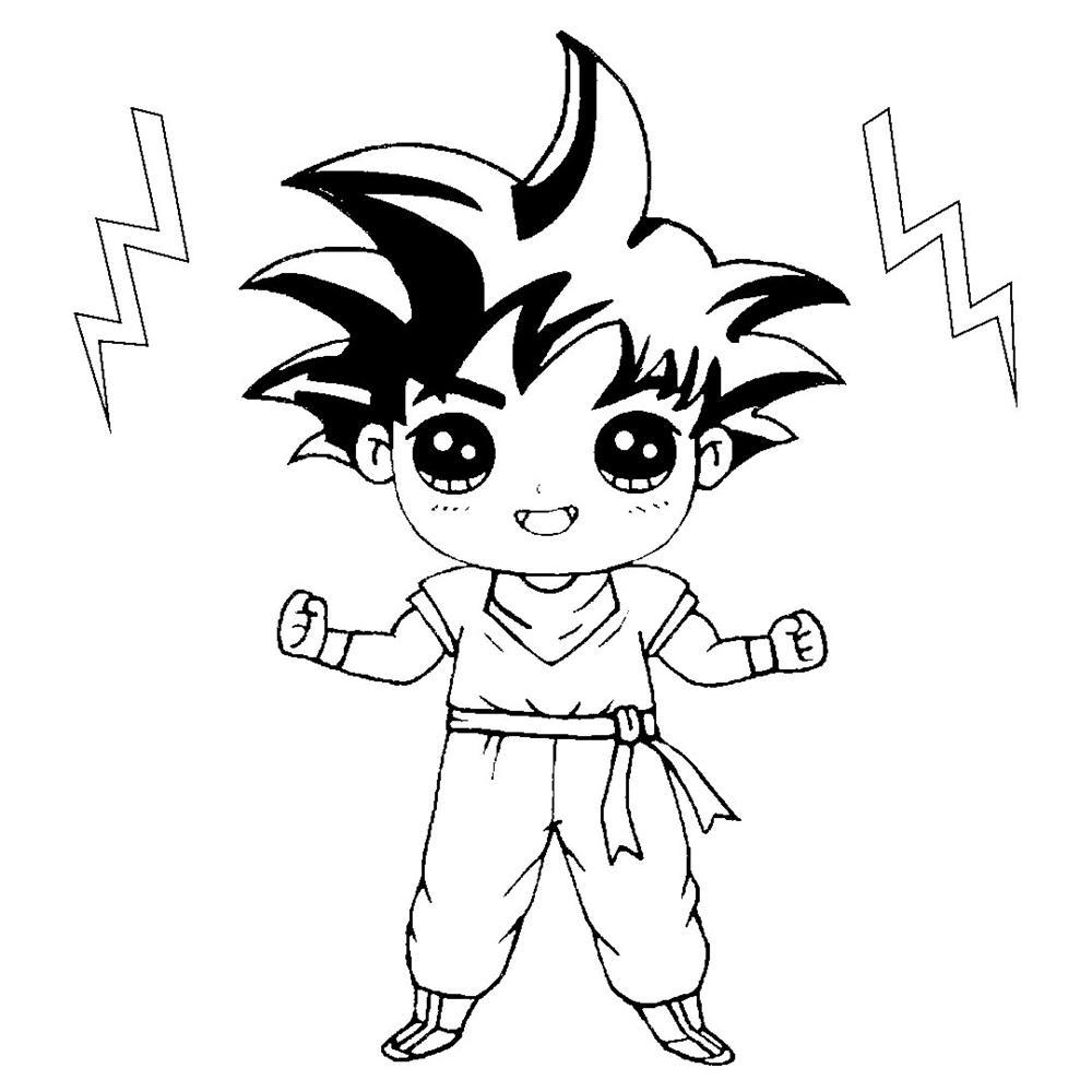 desenho kawaii goku para colorir