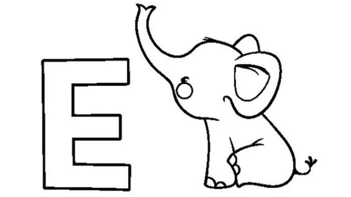 desenho letra e elefante atividade