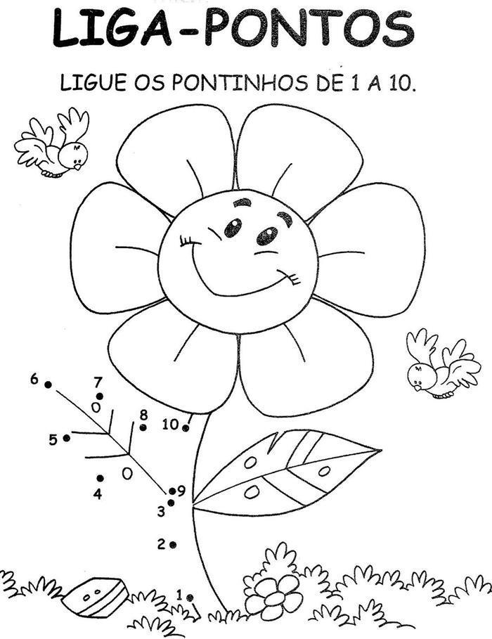 desenho ligue os pontos flor colorir