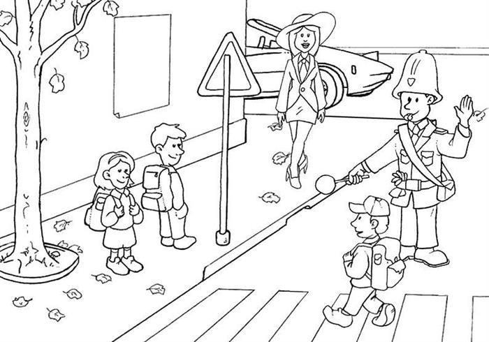 desenho para colorir trâsito faixa pedestre