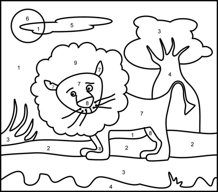 desenhos educativos para colorir e imprimir grátis leão números