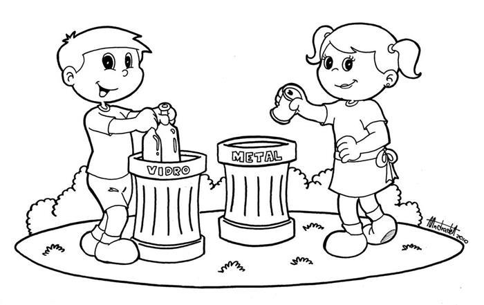desenhos educativos para colorir e imprimir grátis metal vidro lixo