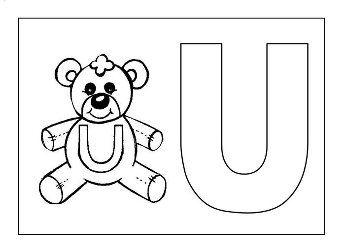 desenhos educativos para colorir letra u