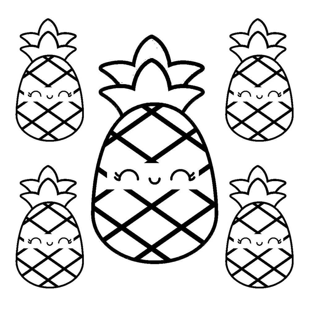 desenhos kawaii abacaxi para colorir
