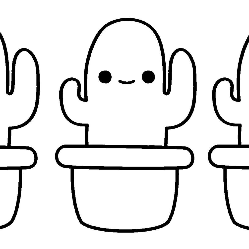 desenhos-kawaii-cacto para colorir