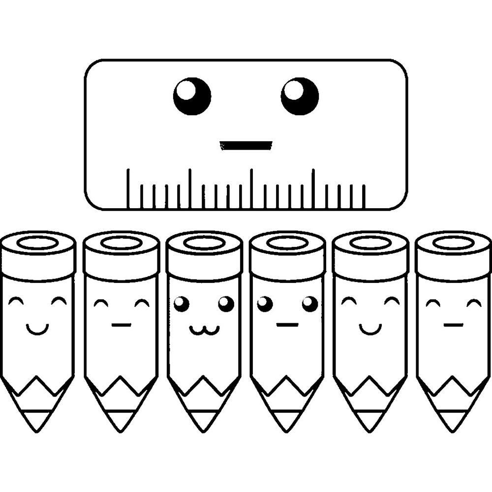 desenhos kawaii de escola para colorir