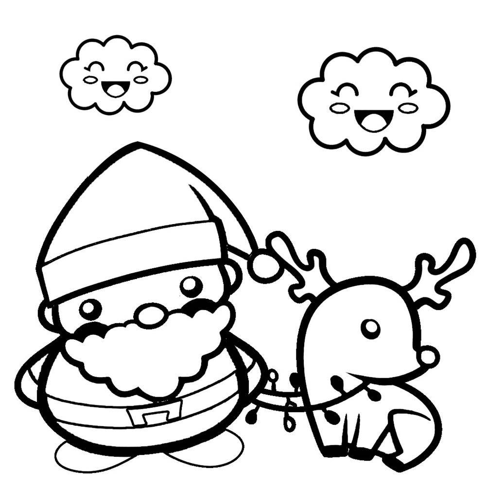 desenhos kawaii de natal para colorir
