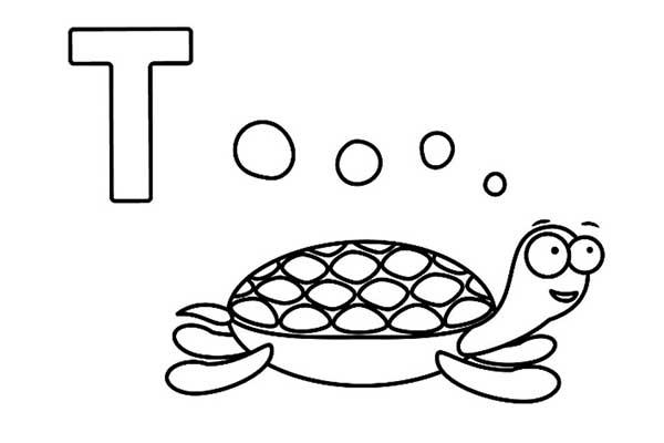letra t tartaruga infantil