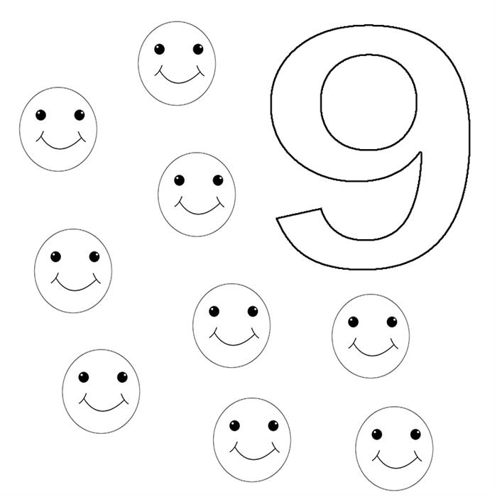 numero 9 colorindo exercicio