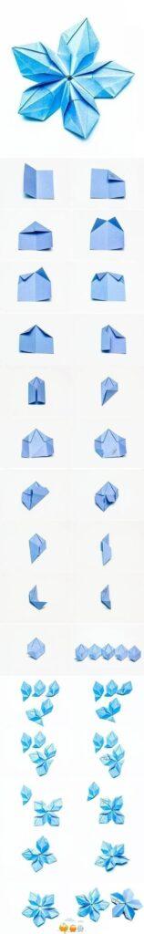 origami flor azul