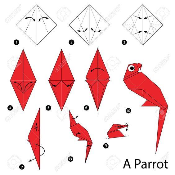 origami papagaio