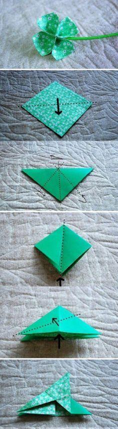 origami trevo de quatro folhas